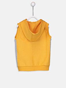 %70 Pamuk %30 Polyester Günlük Yelek Orta Kalınlık Düz Kapüşon Yaka Üç İplik Standart Erkek Bebek Kapüşonlu Fermuarlı Yelek