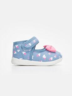 Mavi Kız Bebek Fiyonklu Babet Ayakkabı 9W1242Z1 LC Waikiki