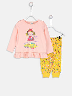 Pembe Kız Bebek Baskılı Pamuklu Pijama Takımı 9W1323Z1 LC Waikiki