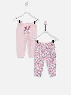 %95 Pamuk %5 Polyester Standart Pijamalar Kız Bebek Desenli Pijama Alt 2'li