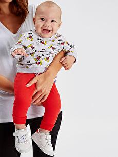 Kırmızı Erkek Bebek Mickey Mouse Baskılı Eşofman Alt 2'li 9W3611Z1 LC Waikiki