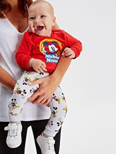 %95 Pamuk %5 Elastan Pantolon İki İplik Erkek Bebek Mickey Mouse Baskılı Eşofman Alt 2'li