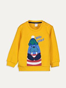 Sarı Erkek Bebek Baskılı Sweatshirt 9W5746Z1 LC Waikiki