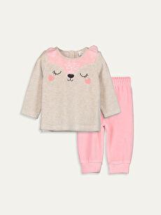 Bej Kız Bebek Pamuklu Pijama Takımı 9W5830Z1 LC Waikiki
