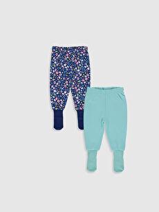 Turkuaz Kız Bebek Çoraplı Pijama Alt 2'li 9W5863Z1 LC Waikiki