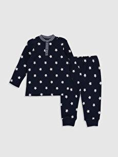Lacivert Erkek Bebek Desenli Pijama Takımı 9W6696Z1 LC Waikiki