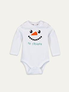 Beyaz Erkek Bebek Baskılı Çıtçıtlı Body 9W8883Z1 LC Waikiki