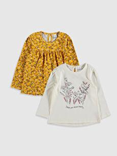 Kız Bebek Desenli Pamuklu Tişört 2'li