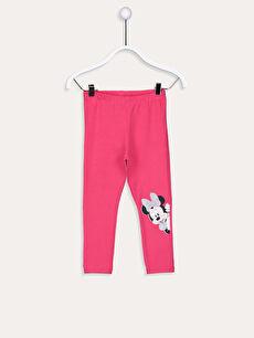 Fuşya Kız Bebek Pamuklu Minnie Mouse Baskılı  Tayt 9WL260Z1 LC Waikiki
