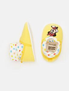 %0 Tekstil malzemeleri (%100 poliester)  Kız Bebek Minnie Mouse Nakışlı Ev Ayakkabısı