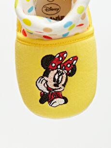 LC Waikiki Sarı Kız Bebek Minnie Mouse Nakışlı Ev Ayakkabısı