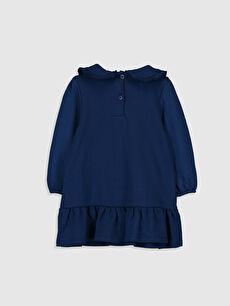 %100 Pamuk Astarsız Uzun Kol Düz Elbise Üç İplik Aksesuarsız Bebe Yaka Kız Bebek Bebe Yaka Elbise