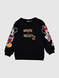 Kız Bebek Mickey ve Minnie Mouse Baskılı Sweatshirt