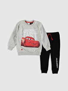 Erkek Bebek Arabalar Baskılı Sweatshirt ve Pantolon