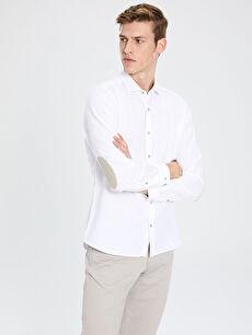 Slim Fit Armürlü Pamuklu Gömlek