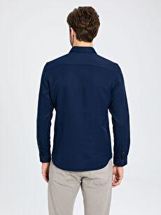 %60 Pamuk %40 Polyester Slim Fit Basic Armürlü Gömlek