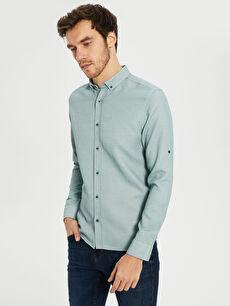 %61 Pamuk %39 Polyester Gömlek Gömlek Yaka Baskılı Dar Patlı Uzun Kol Slim Fit Basic Armürlü Gömlek