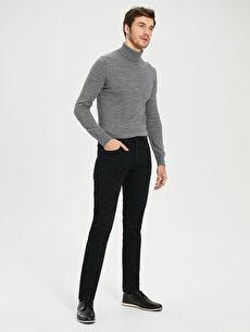 Siyah Slim Fit Armürlü Pantolon 0S0897Z8 LC Waikiki
