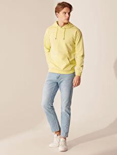 LC Waikiki Sarı Kapüşonlu Basic Kalın Sweatshirt