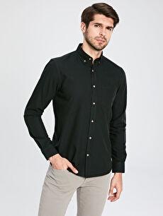 %100 Pamuk Normal Düz Uzun Kol Gömlek Düğmeli Regular Fit Basic Gömlek
