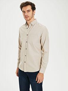 Bej Regular Fit Basic Gömlek 0S1339Z8 LC Waikiki