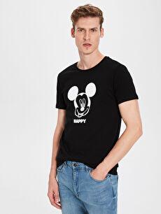 Mickey Baskılı Bisiklet Yaka Penye Tişört
