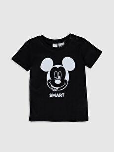 Siyah Erkek Bebek Mickey Mouse Baskılı Tişört 0S1355Z1 LC Waikiki