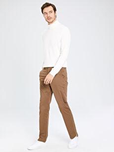 Kahverengi Normal Kalıp Gabardin Chino Pantolon 0S1738Z8 LC Waikiki