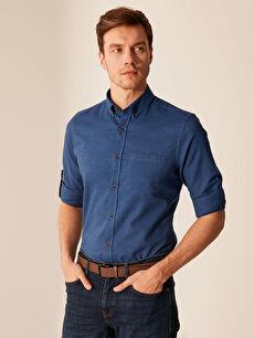 %70 Pamuk %30 Keten Gömlek Standart Keten Uzun Kol Düz Düğmeli Gömlek Yaka Regular Fit Basic Keten Gömlek