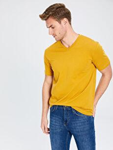 Sarı V Yaka Basic Tişört 0S1781Z8 LC Waikiki