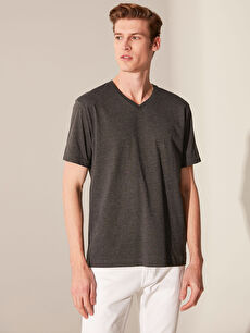 %60 Pamuk %40 Polyester V yaka Düz Standart Kısa Kol Tişört V Yaka Basic Tişört