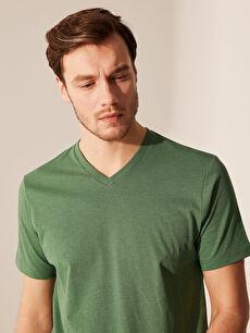 %69 Pamuk %31 Polyester V yaka Düz Standart Kısa Kol Tişört V Yaka Basic Tişört