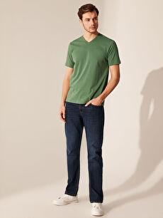 %69 Pamuk %31 Polyester V Yaka Basic Tişört