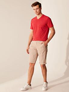 %47 Pamuk %53 Polyester V Yaka Basic Tişört