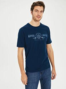 Erkek Bisiklet Yaka Baskılı Penye Tişört