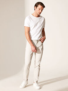 %98 Pamuk %2 Elastan Aksesuarsız Normal Bel Dar Beş Cep Pantolon Düz Slim Fit Armürlü Pantolon