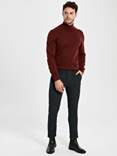%63 Polyester %3 Elastan %34 Viskon Slim Fit Chino Pantolon