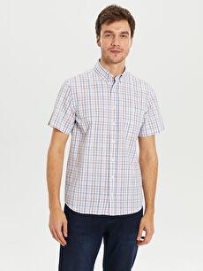 %100 Pamuk Normal Kısa Kol Ekoseli Gömlek Düğmeli Regular Fit Ekose Kısa Kollu Poplin Gömlek