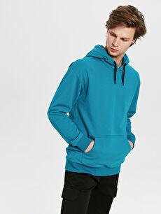 Turkuaz Kapüşonlu Basic İnce Sweatshirt 0S2901Z8 LC Waikiki