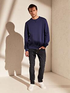 %48 Pamuk %52 Polyester Bisiklet Yaka Basic Sweatshirt