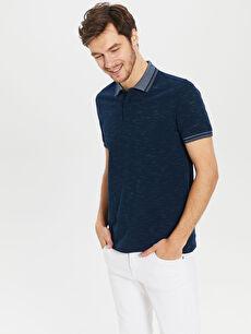 %98 Pamuk %2 Polyester Baskılı Kısa Kol Tişört Polo Polo Yaka Basic Tişört