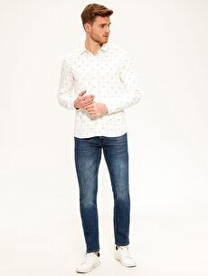 %100 Viskoz Gömlek Uzun Kol Gömlek Yaka Baskılı Dar Patlı Slim Fit Viskon Gömlek