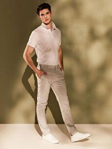 %95 Pamuk %5 Elastan Dar Normal Bel Pilesiz Pantolon Slim Fit Basic Pantolon