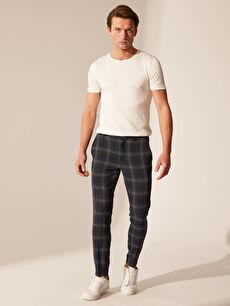 %64 Polyester %33 Viskon %3 Elastan Aksesuarsız Çizgili Normal Bel Dar Pantolon Slim Fit Ekose Crop Pantolon