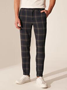 Erkek Slim Fit Ekose Crop Pantolon