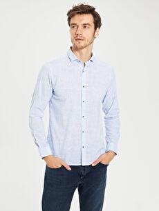 %100 Pamuk Gömlek Uzun Kol Düz Poplin Gömlek Yaka Dar Patlı Slim Fit Pamuklu Gömlek