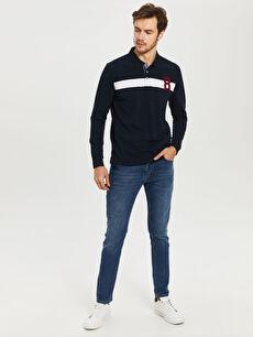 %100 Pamuk Polo Yaka Şeritli Uzun Kollu Tişört