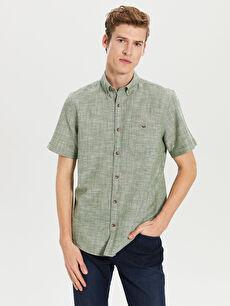 Yeşil Regular Fit Kısa Kollu Keten Gömlek 0S5723Z8 LC Waikiki