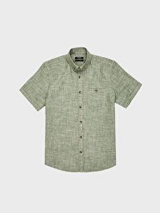 LC Waikiki Yeşil Regular Fit Kısa Kollu Keten Gömlek
