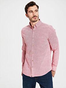 %100 Pamuk Normal Düz Uzun Kol Gömlek Düğmeli Regular Fit Uzun Kollu Poplin Gömlek